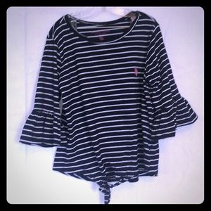 Navy and white striped 3/4 angel sleeve top